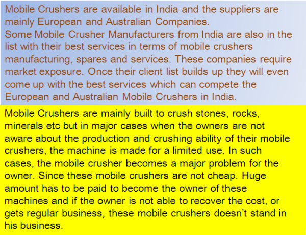 Mobile Crusher Sale and Purchase in India